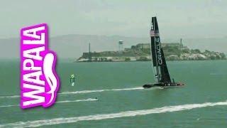 Kai Lenny kitesurf VS catamaran à foil de Oracle Team USA pour la Coupe de l'America