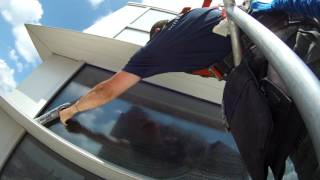 Washing very dirty windows with 50 ft boom lift part 1