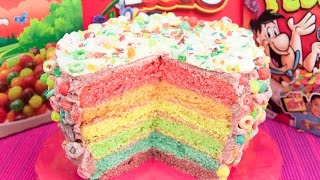 6 Layer Cereal Cake (Trix, Fruity Pebbles & Froot Loops Cereal) from Cookies Cupcakes and Cardio