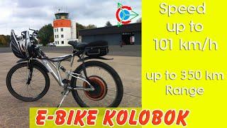 E Bike Kolobok fährt mit 91 km/h. Reichweite bis zu 60 km mit 48 V, 12,6 Ah Li-Ion
