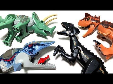 10 LEGO DANGEROUS DINOSAURS JURASSIC WORLD FALLEN KINGDOM TOYS for kids - CARNOTAURUS INDORAPTOR