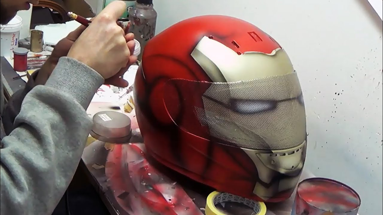 Download Ironman fullface motorcycle helmet custompainting using aerograf airbrush