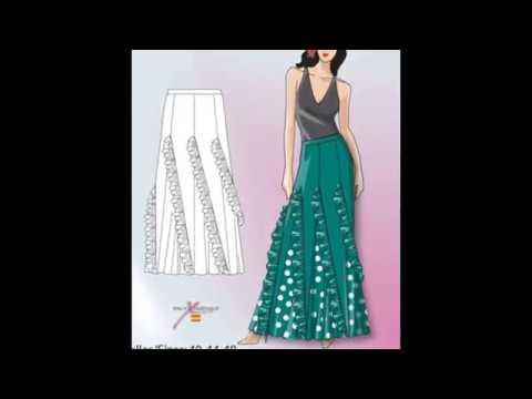 720b554aad7 Hermosos diseños de faldas con patrones - YouTube