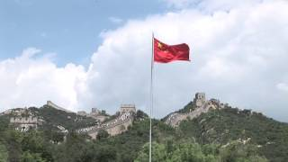 Chinese Flag Waving near The Great Wall of China Video - People