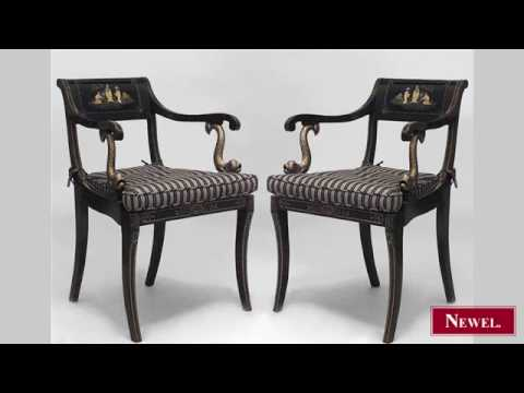 Antique Pair of English Regency brown lacquered Chinoiserie