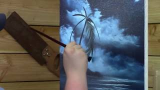 blue moon wave oil painting painting by tv artist brandon thomas