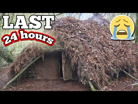 (LAST VID) 24 HOUR OVERNIGHT CHALLENGE IN THE WILDERNESS //  OVERNIGHT IN THE WOODS SURVIVAL FORT!