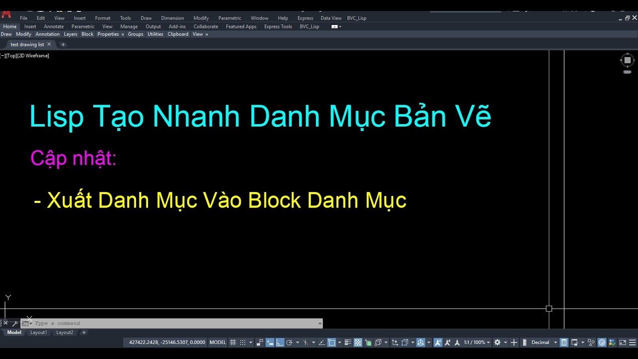 Lisp Tạo Danh Mục Bản Vẽ DM cập nhật vào block