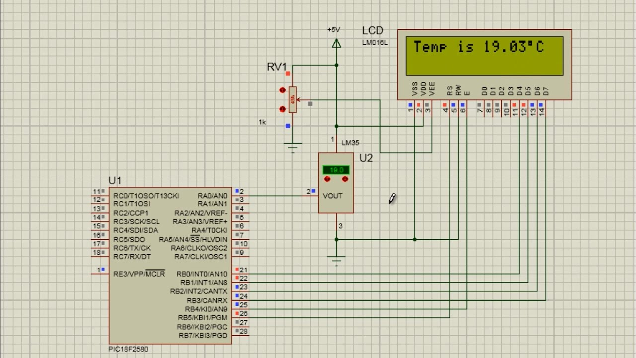 Flowcode Beginners Tutorial 12 Project 1 Digital Thermometer Part Circuit Diagram