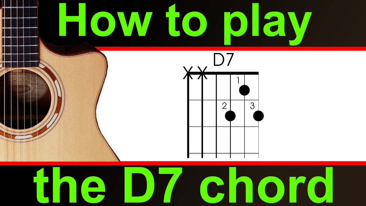 How To Play D7 On The Guitar D Dominant 7th Guitar Chord Youtube