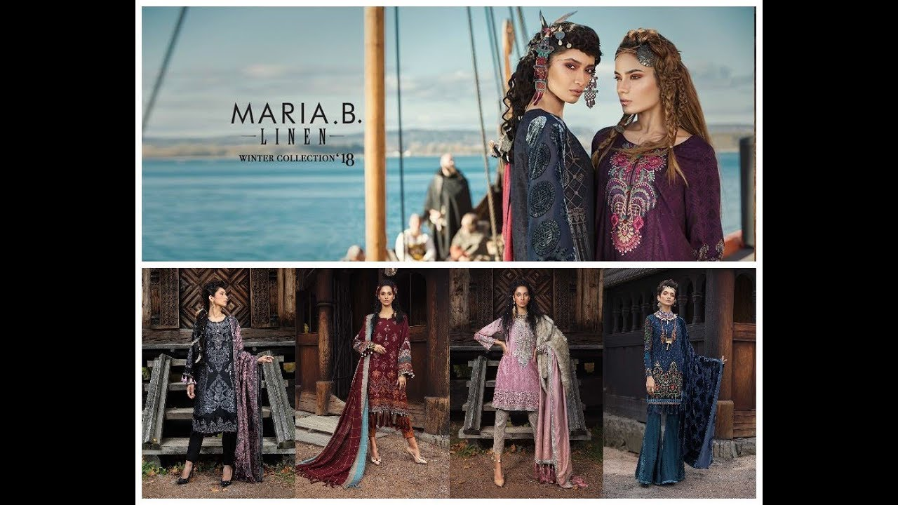 b5b17b412cf9 Maria B. LINEN (Unstitched) Winter Collection 2018-19=3 Piece Embroidered