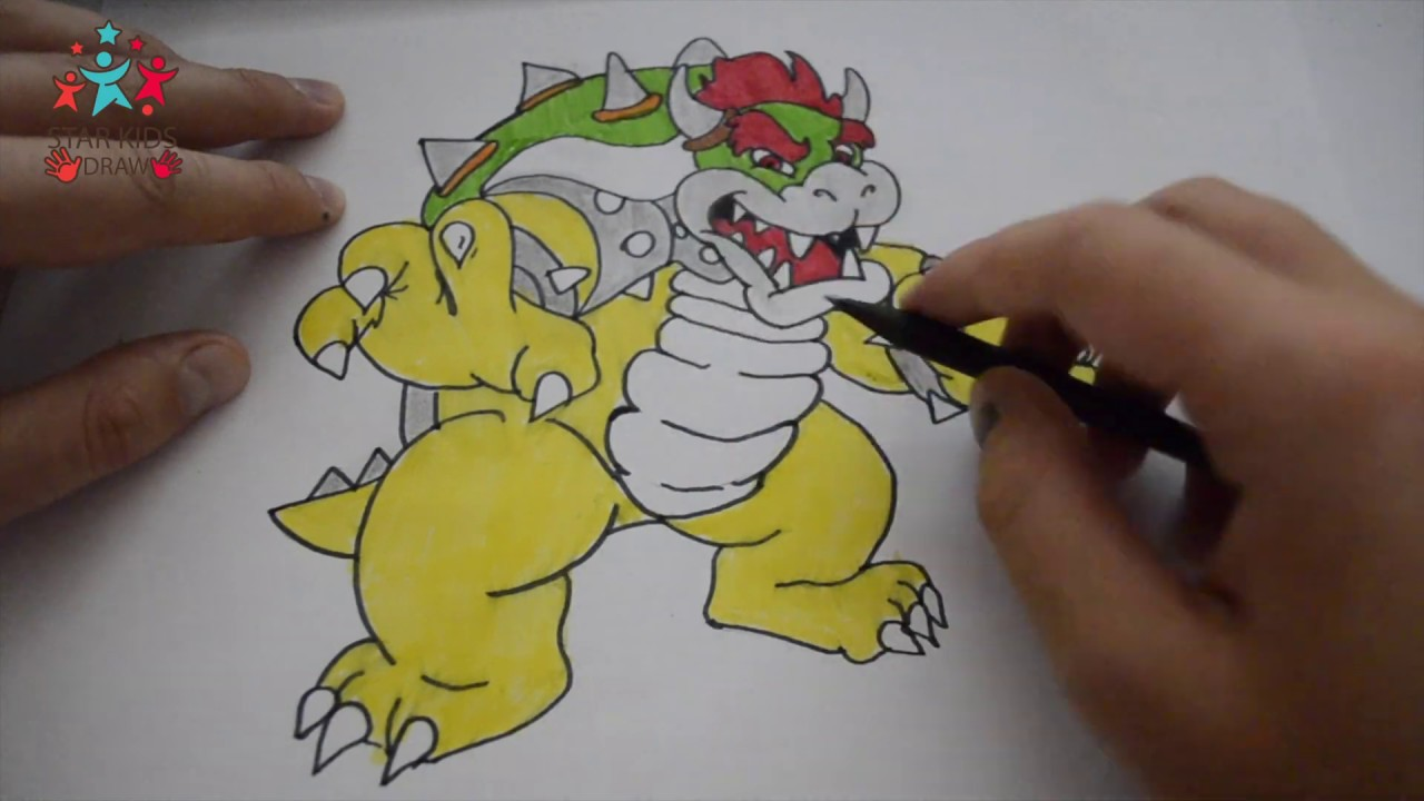 How To Draw Bowser From Super Mario Bros For Kids Step By Step Drawing 4k