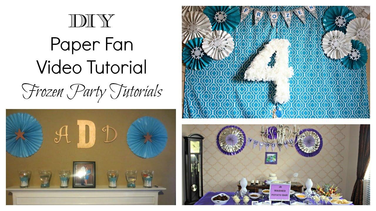 diy paper fan frozen party tutorial youtube. Black Bedroom Furniture Sets. Home Design Ideas