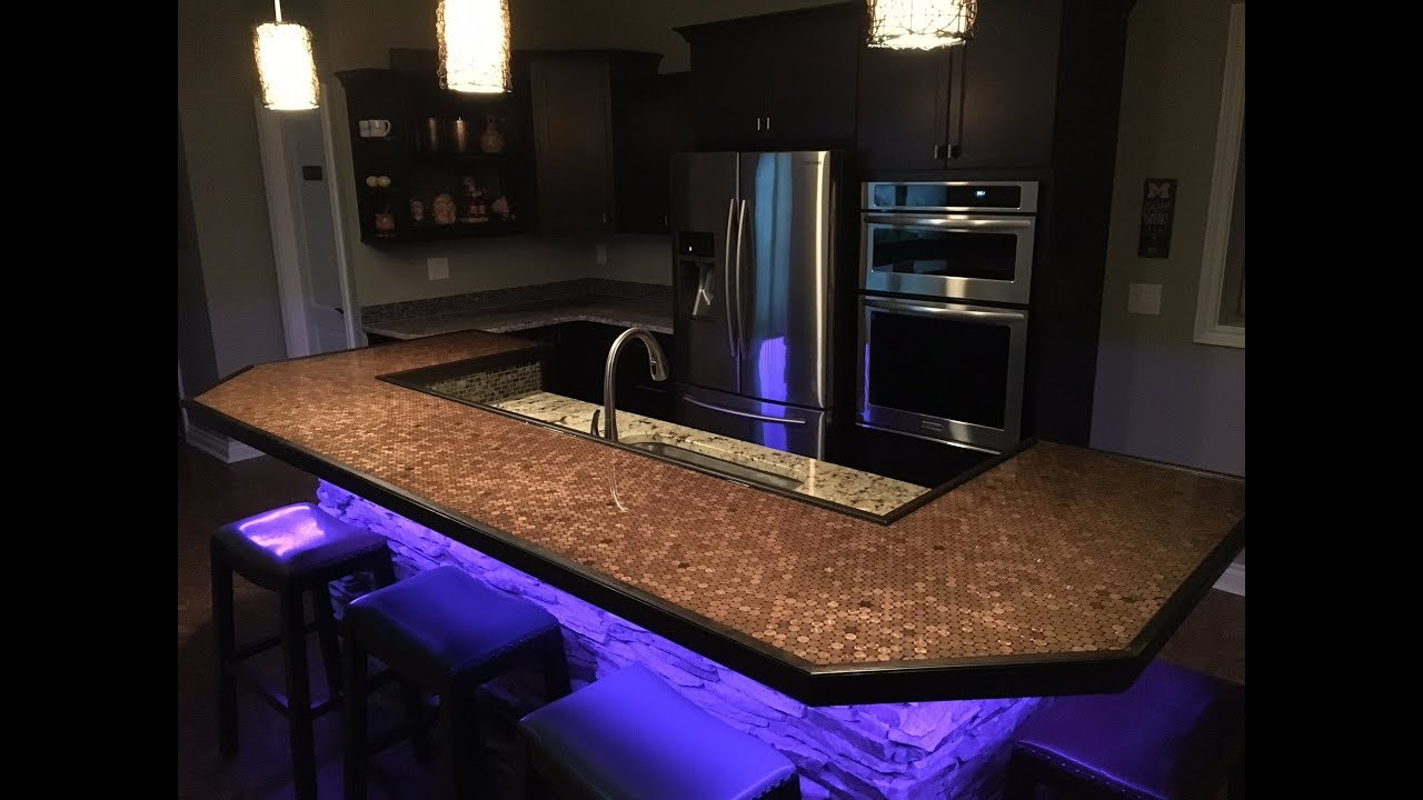 how to make a penny bar top youtube. Black Bedroom Furniture Sets. Home Design Ideas