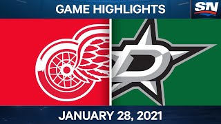 NHL Game Highlights | Red Wings Vs. Stars - Jan. 28, 2021