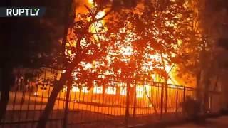 Кадры пожара в детском лагере в Одессе