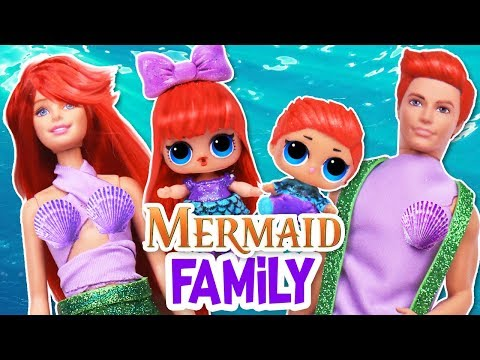 🧜🏻‍♀️The LITTLE MERMAID FAMILY with custom BARBIE, LOL DOLLS! - Toy Transformations