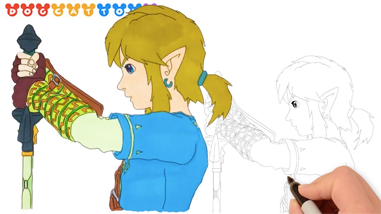 Speed Drawing The Legend Of Zelda Link Drawing Coloring Pages Videos For Kids Youtube
