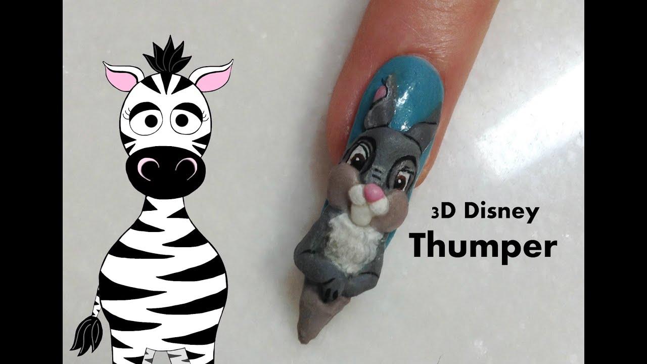 3d Disney Thumper Acrylic Nail Art Design Tutorial Bambi Youtube