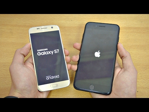 Samsung Galaxy S7 OFFICIAL Android 7.0 Nougat vs iPhone 7 Plus iOS 10.2.1 Speed Test!