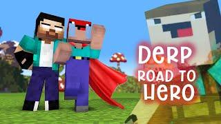 DERP ROAD TO HERO - HEROBRINE THE MASTER - MONSTER SCHOOL (MINECRAFT ANIMATION)