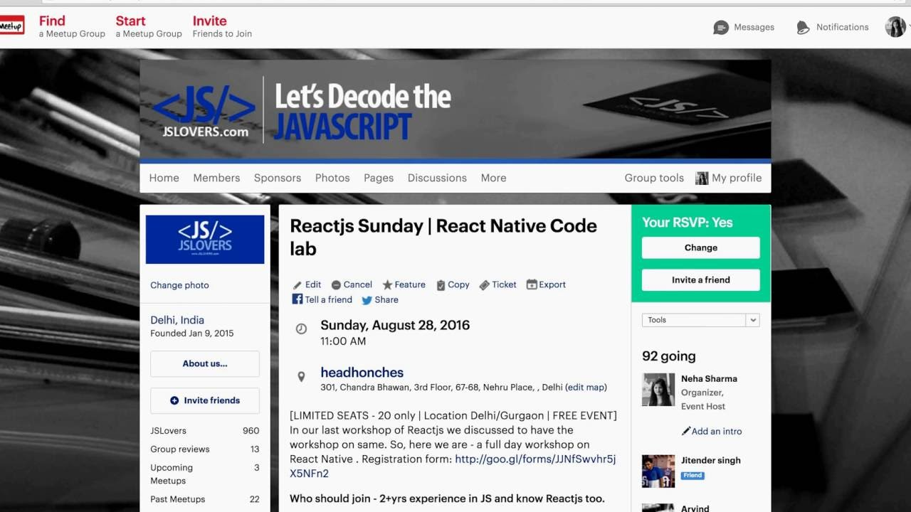 #2 JSLovers August Upcoming Meetup : React Native for Beginners