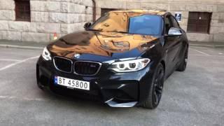 BMW M2 Black walkaround - outside - engine on