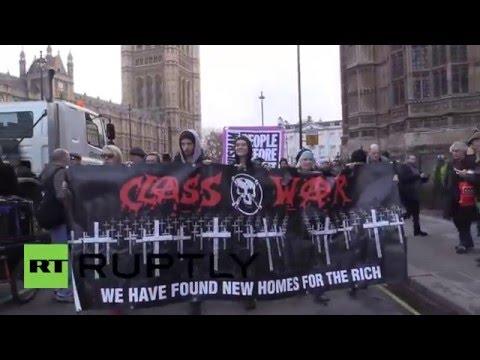 UK: 'Class War' activists rally against the housing bill