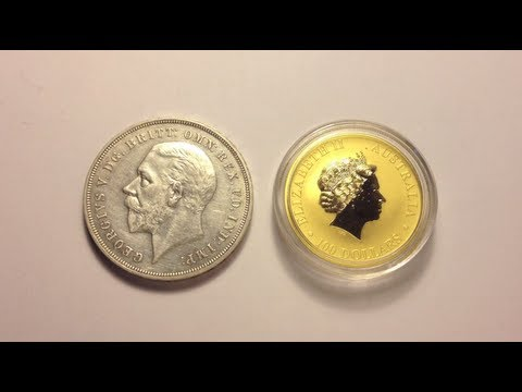 1935 British 'Rocking Horse' Crown & 2012 Australian Kangaroo 1oz Gold Coin