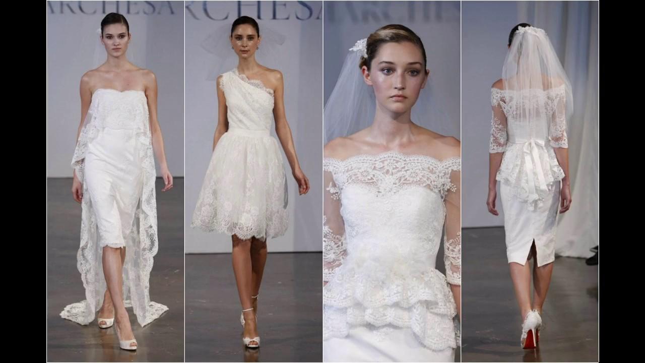 7ae0d1b00 Vestidos de novia cortos con cola - YouTube