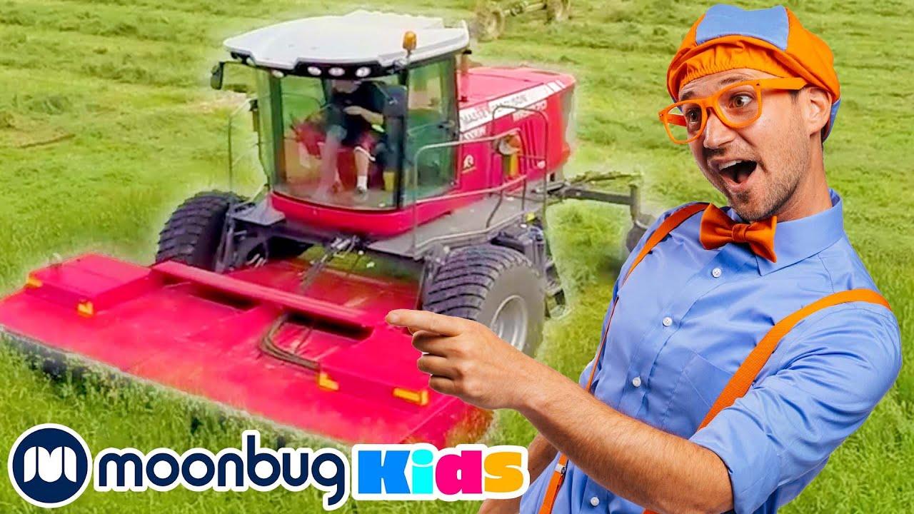BLIPPI Learns About Farm Vehicles! | Learn | ABC 123 Moonbug Kids | Educational Videos