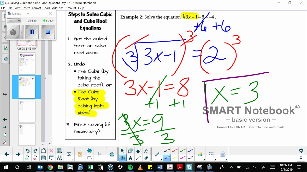 6 3 solving cubic and cube root equations day 2  youtube