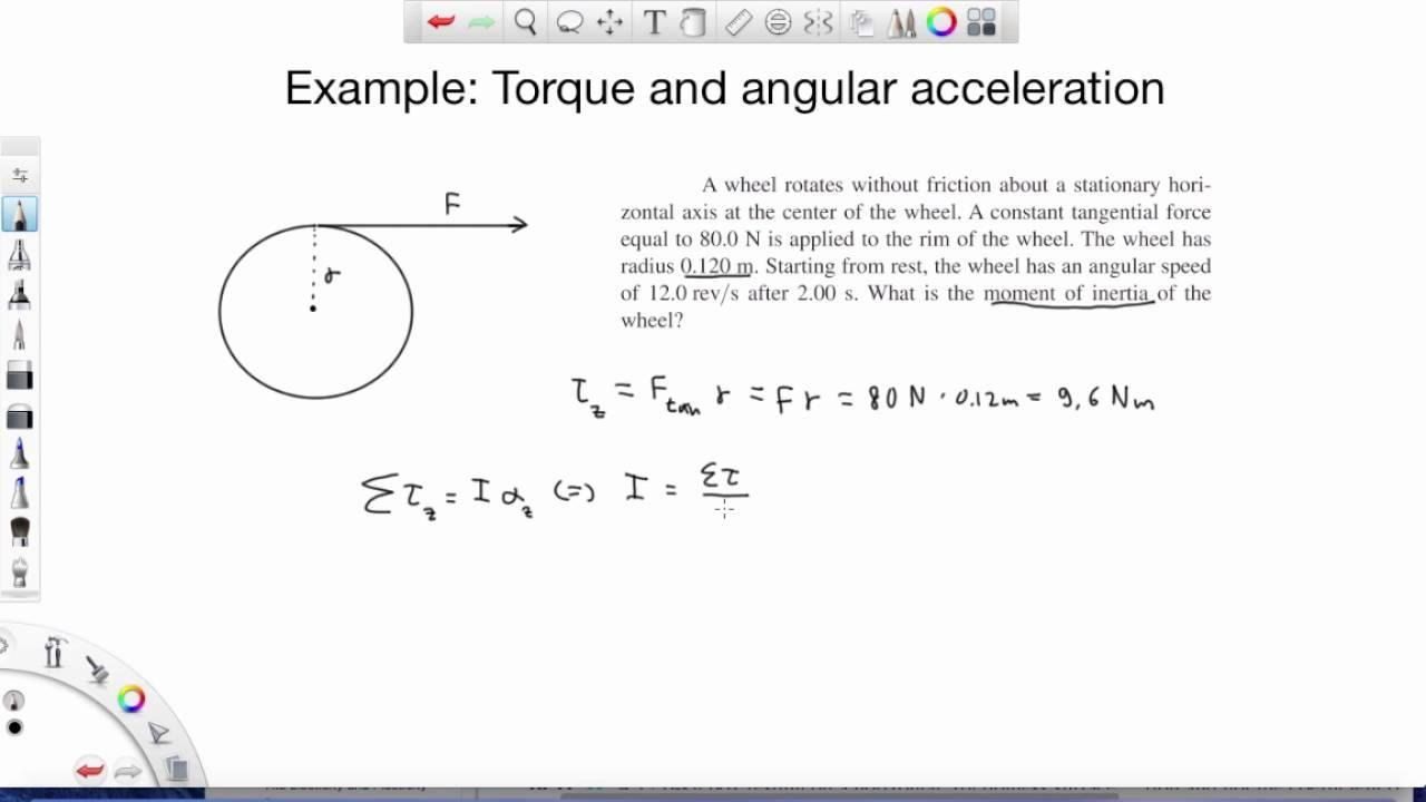Rotational motion: angular acceleration. Level 1, example 1 youtube.