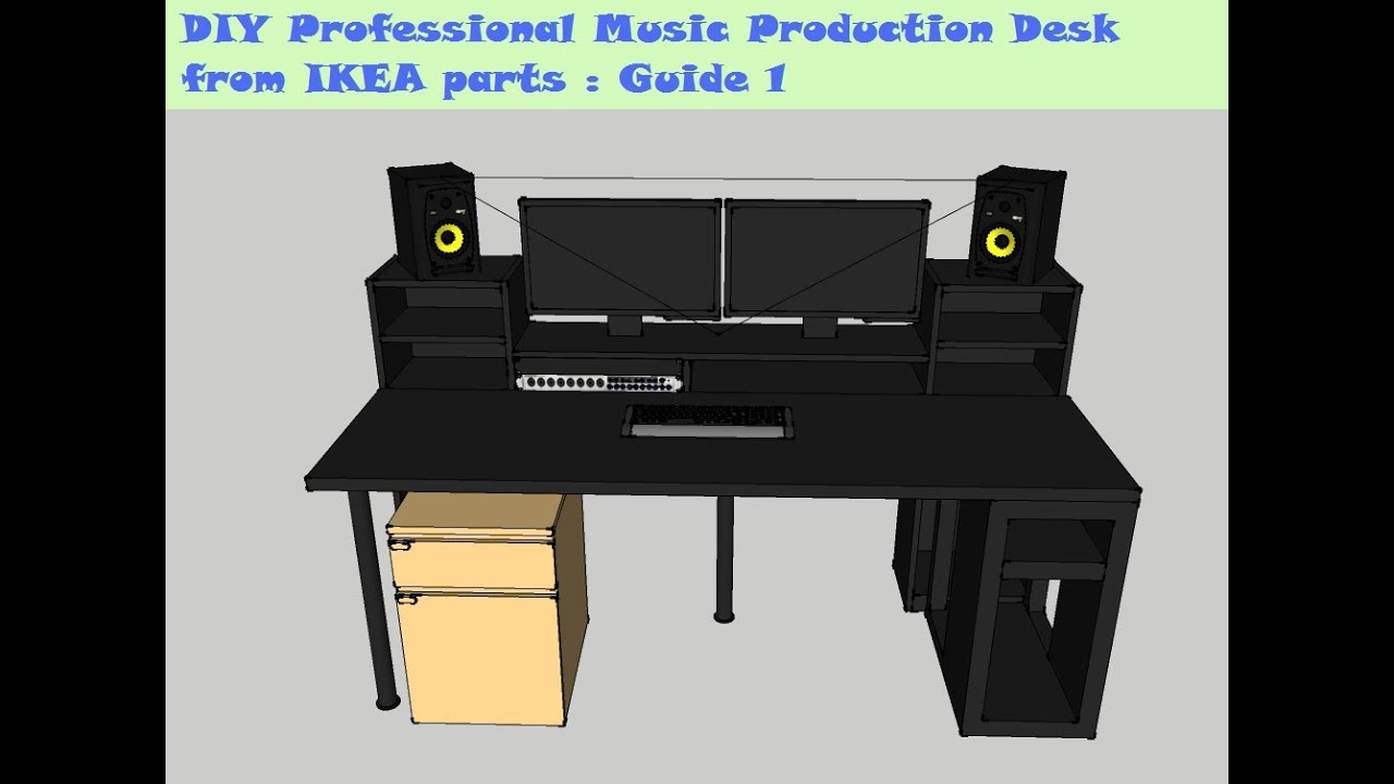 Guide DIY Music Production Desk From IKEA Parts Build YouTube - Cheap diy ikea home studio desk