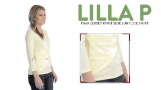 Lilla P Pima Jersey Knot Side Surplice Shirt - V-Neck, 3/4 Sleeve (For Women)