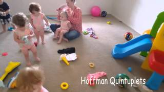 getting dressed with 21 month old quintuplets a 9 year old and a newborn