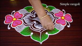 Simple New Color Flower Kolam design with dots Creative Rangoli Design for Competition Best Muggulu