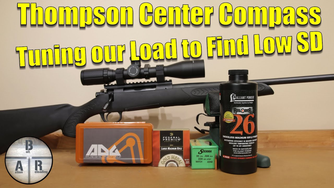 Thompson Center Compass - 300 Win Mag - 220 SMK with Reloder 26 Groups and  velocity testing