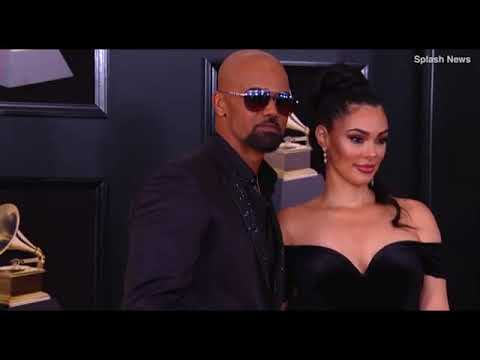 Shemar Moore arrives with Anabelle Acosta at 2018 Grammys