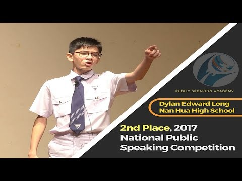 2nd Place Winner, 2017 National Public Speaking Competition, Dylan Edward Long, Nan Hua High School