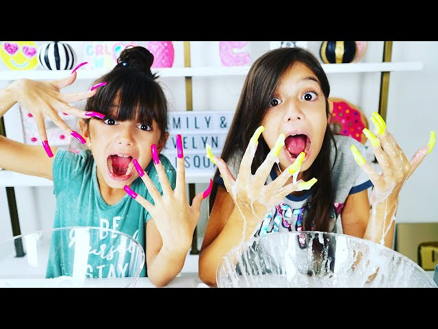 DONT MAKE SLiME WiTH SUPER LONG ACRYLiC NAiLS CHALLENGE!