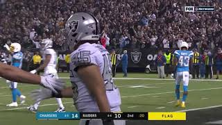 Derek Carr connects with Alec Ingold on touchdown pass Chargers Vs Raiders