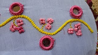 beads stitch and  moti tanka french knot embroidery  // by mirror ring hand work design
