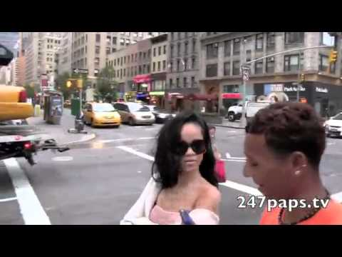 Rihanna Walking Around In A Sheer Tube Top In New