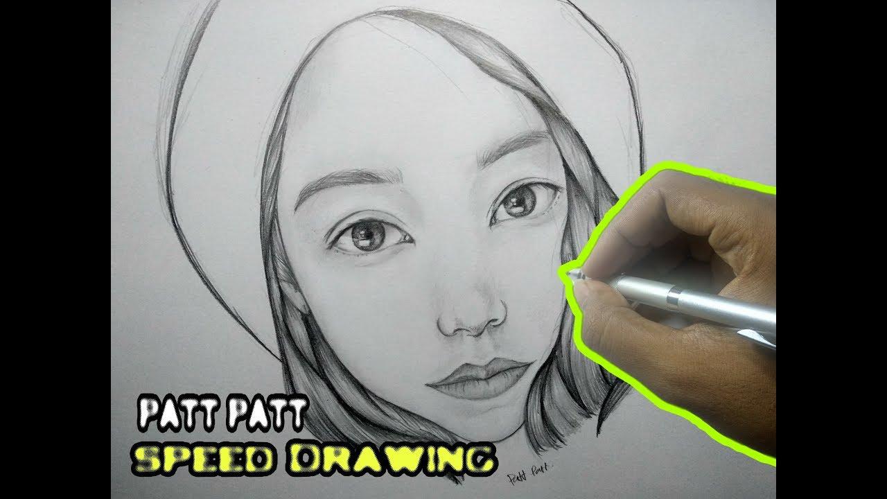 GAMBARIN CEWE CANTIK ,Drawing face girls | speed Drawing