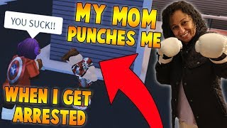 MY MOM PUNCHES ME EVERYTIME I GET ARRESTED IN JAILBREAK?! (Roblox Jailbreak)