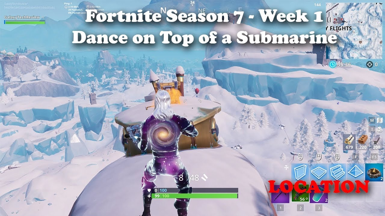 Fortnite Season 7 Week 1 Dance On Top Of A Submarine Location