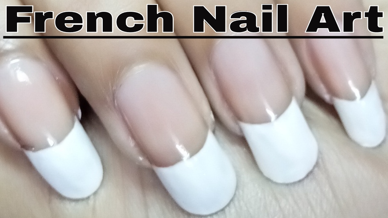 French Nail Polish Art Designs At Home Tutorial - YouTube