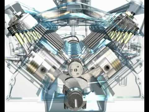3d animation of a v8 engine