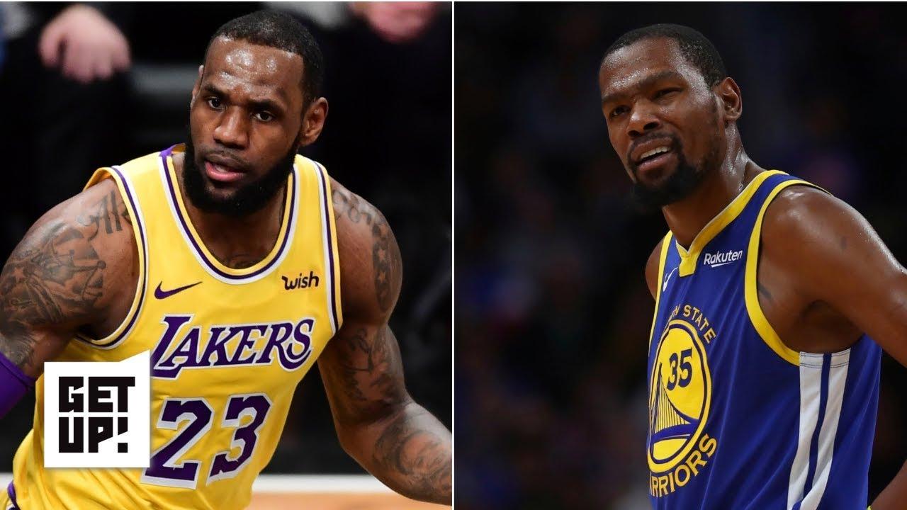 b2e95a13775 LeBron James and Anthony Davis vs. Kevin Durant and Kawhi Leonard: Jalen  Rose picks a side | Get Up!